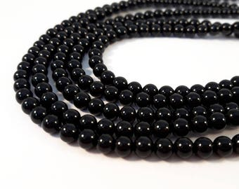 94 beads Agate natural Black - 4 mm - Pierre of gemstone - semi precious stone - A092