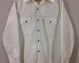 Vintage Levi's Panatela Sportswear Ivory Western Shirt Size Large, Made in USA
