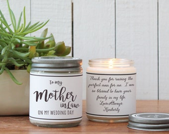 To my Mother In Law on my Wedding Day - Bridal Party Candle | Bridal Party Card | Mother in Law Wedding Gift | Sister Wedding Card | Wedding