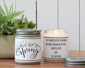 Hello Spring Soy Candle Gift - Easter Scented Candle - Spring Scented Candle | Happy Easter Gift | Easter Basket | Personalized Easter gift