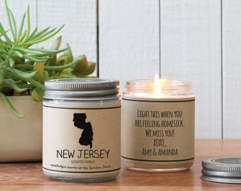 New Jersey Scented Candle - Homesick Gift | Feeling Homesick | State Scented Candle | Moving Gift | College Student Gift | State Candles