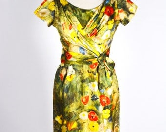 "1950s Designer Vintage Nicholas Ungar Watercolor Print Silk Wiggle Dress/Waist 30"""