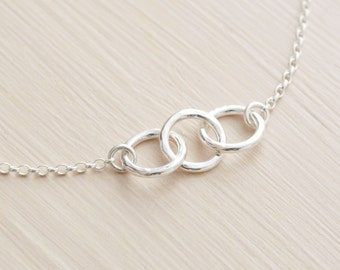 Sterling Silver Three Rings Chain Bracelet