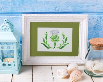 "Sea Glass Scottish Thistle Print - 8x10"" mat with 5x7"" seaglass mosaic print"