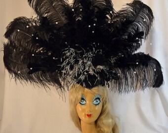 Gothic Showgirl Ostrich and Coque Feather Black & White Fascinator Headdress Headpiece