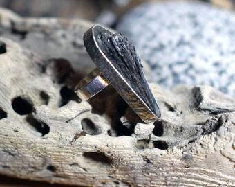 Black stone ring, statement ring, handmade silver ring, black kyanite ring, UK size M ring, US size 6.25 ring, No. 12 size ring
