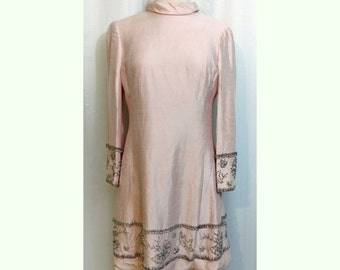 Miss Elliette Pink Silk Shift with Glass Beading