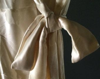 Vintage Handmade Ivory Brocade Wrap Dress c 1983 NYC