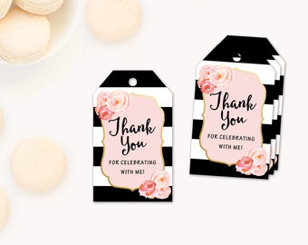 Thank You Tags, party Favor Tags, Baby Shower Thank you Tags, Baby Shower Favor Tags, Black and White Stripe Floral tags, pink black, Paris