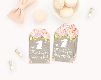 Easter Birthday Party Favor Tags, Thank you tags, Easter Bunny Party Favor Thank you tags, bunny thank you tags, a little bunny is turning 1