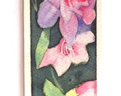 Bookmark original watercolor painting /  Flower / Weissenberger Christine