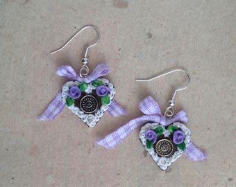 Heart earrings, gingerbreadheart, lilac, Octoberfest, bavarian style