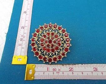 Vintage Red Diamanté Round Brooch - 1950's
