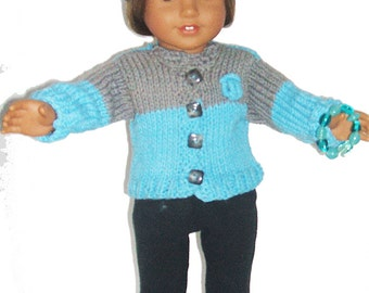 American Girl Doll  Handknit Blue and Grey Cardigan With  Matching Hat and Bracelet