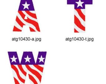 Patriotic-Alphabet ( 26 Machine Embroidery Designs from ATW ) XYZ17D
