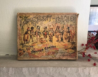 Antique CLEMENS' SILENT TEACHER Dissected Wooden Puzzle Map of Pennsylvania