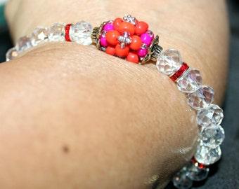 Beautiful Crystal beaded shamballa bracelet with tassels; handmade, beadweaving, Crystal & glass beaded, cute, elegant, white, red