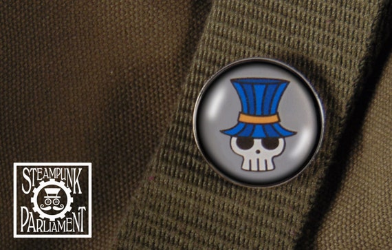 Skull in a Blue Tophat Pin