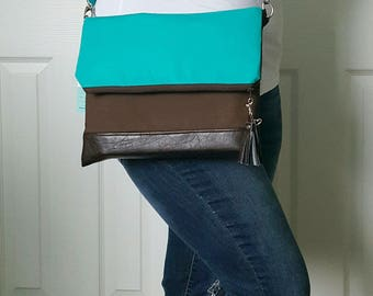 Teal Dark Brown Crossbody Bag, Brown Faux Leather, Crossbody Purse, Clutch Purse, Wristlet, Shoulder Bag, Handbag, Birthday Gift