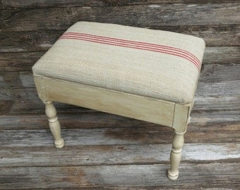 Antique French Country Farmhouse Stool Burlap Tall Footstool Rustic Painted Vintage Red Stripe