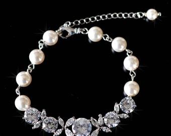 Handmade Cubic Zirconia CZ and Pearl Bridal Bracelet, Bridal, Wedding (Pearl-738)