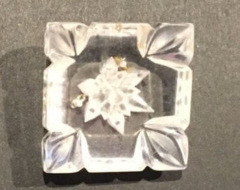 Unusual high-profile square engraved clear resin vintage brooch