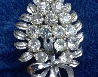 Diamante Brooch, Vintage Brooch, Vintage Pin, Rhinestone, Leaf Brooch, Gifts for Her, Vintage Fashion Accessories, Mid-Century