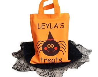 Personalised Halloween Treat Bag, Hallowean trick or treat Bag