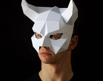 DEVIL Mask - Make your own demon mask from card, with this easy PDF download