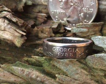 Georgia state quarter coin ring