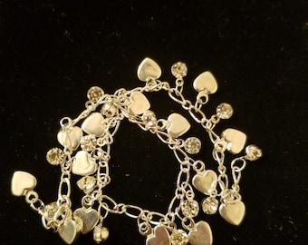 Silver heart diamond bracelet heart silver diamond crystal bracelet chain heart crystal diamond heart bracelet silver bracelet diamond chain