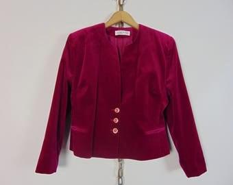 Vintage Fuschia Velvet Jacket (Jacques Vert)