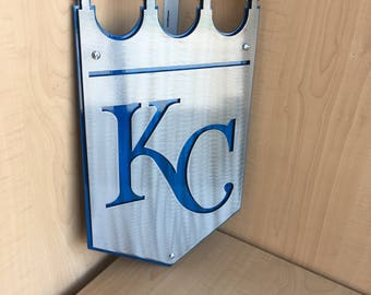 """14ga Steel Dual Layer KC Kansas City Royals Crown Sign 18"""" or 12"""" with Keyhole Style Mounting Holes, Wall Art, Home Decor, Blue & Silver"""