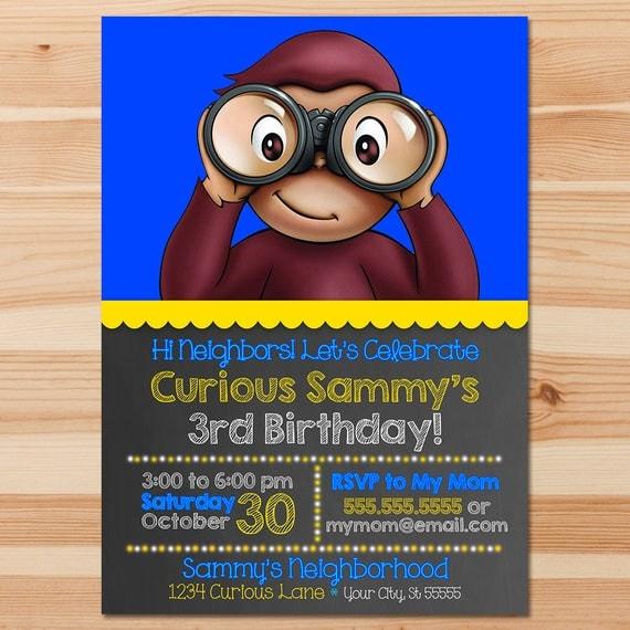 Curious George Birthday Invite - Blue Chalkboard - Boy Curious George Invitation - Curious George Party - Curious George Printables