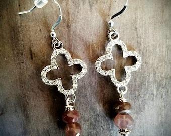 Moonstone & Rhinestone Earrings