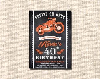 Motorcycle Invitation, Motorcycle Birthday Invitation, Motorcycle Birthday, Vintage Motorcycle Birthday, Harley Davidson, 40th Birthday
