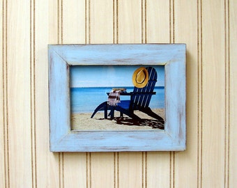 Handmade Picture Frame Blue Brown 5x7 Cottage Chic, Beach Decor