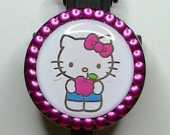 Hello Kitty badge reel with fushia metal studs