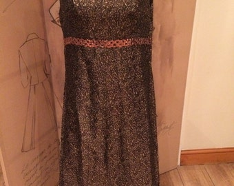 70's full length brown & gold dress / gown brocade pattern wedding special occasion