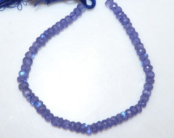 """1 Strand Natural Rainbow Moonstone Mystic Purple Color Coated Faceted Rondelle , Mystic Coated Beads , 5.50 - 6 mm, 8"""", MC952"""