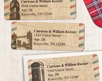 "Printable Vintage British London Airmail Address Labels - Parchment, Personalized 2 5/8"" x 1"" Address Labels, Editable PDF, Instant Download"