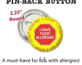 Allergy Alert Button • Allergy Pin • Allergy Alert • Diaper Bag Pin • Allergy Button • Allergy Warning Button • Don't Feed Me