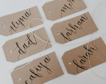 Custom brown craft name/gift tags for any occasion!