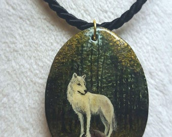 Miniature painting, pendant hand painted on wood, Wolf, with wolves, Wicca