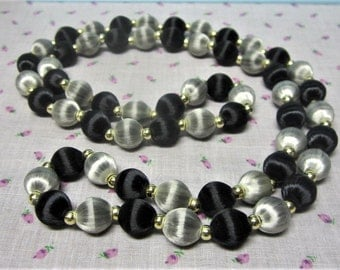 Black and Silver Silk Thread Beaded Necklace Vintage 1960s Long Necklace
