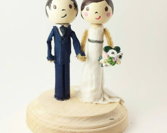 Custom peg doll wedding cake topper clothespin doll wedding cake topper wood cake topper peg people topper cake topper people