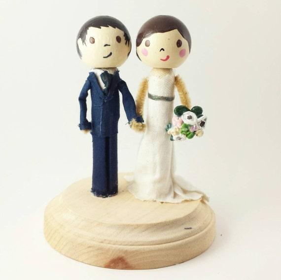 wedding cake toppers wooden dolls custom peg doll wedding cake topper clothespin doll wedding 26642