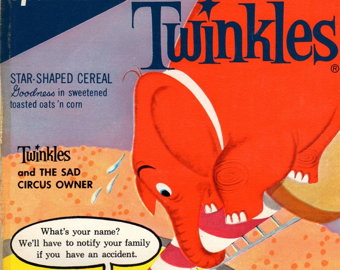 1960's Twinkles General Mills Cereal Box Book Twinkles and the Sad Circus Owner