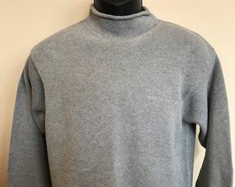 90s DKNY Jumper Sweater Vintage Rolled Collar Long Sleeve Spellout Rare Spring Summer Soft Sweatshirt Warm Hip Hop Donna Karen Jeans Large L
