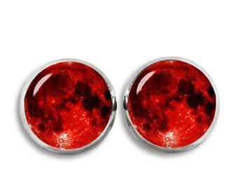 Blood Moon Stud Earrings Blood Moon Earrings Red Moon Earrings Moon Jewelry
